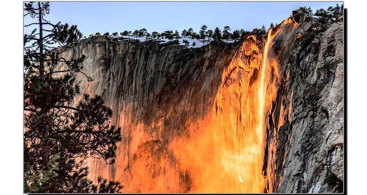 کیلی فورنیا کی عجیب و غریب جلتی آبشار