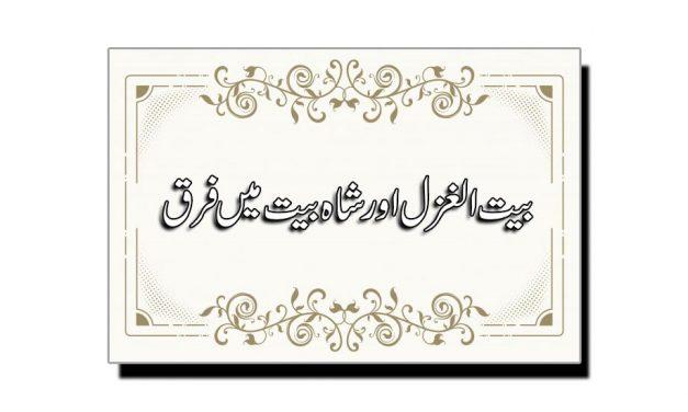 بیت الغزل اور شاہ بیت میں فرق