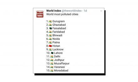 دنیا کے اولین پندرہ آلودہ ترین شہروں کی فہرست جاری