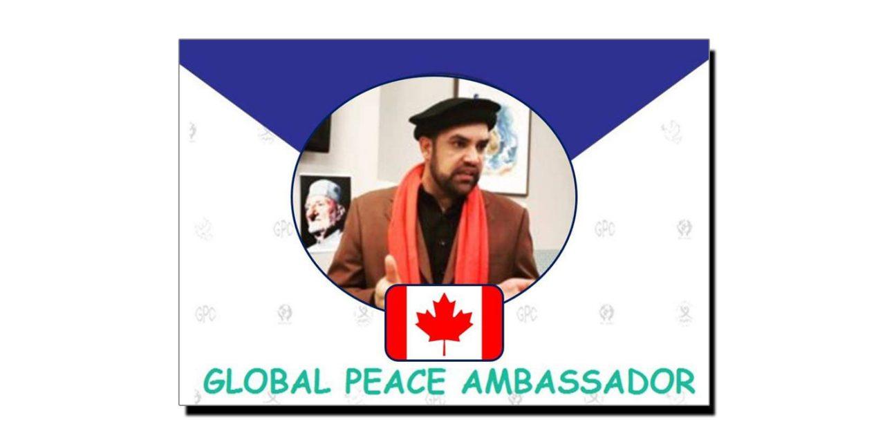 """سوات کا بیٹا کینیڈا میں """"امن کا سفیر"""" تعینات"""
